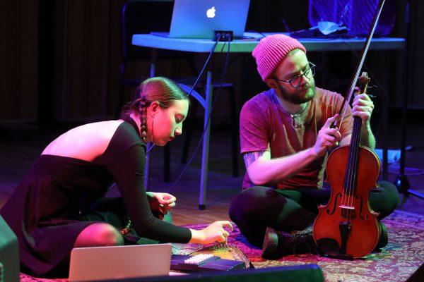 Breanna Tavaglione ('18) and Josh Westerman ('18) performing Breanna's piece Nota et Ignotas at the Spring 2017 ESP Night concert