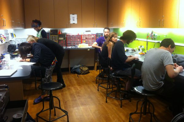 ESP and Music Tech students building Peter Blasser's synthesizer circuit in the Electronics Lab in the Spring of 2015