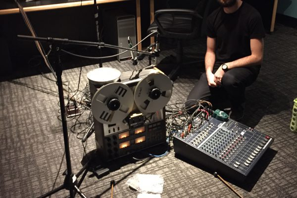 Davy Sumner preparing his piece for amplified tape-machine and percussion for the ESP Night Concert in February 2016