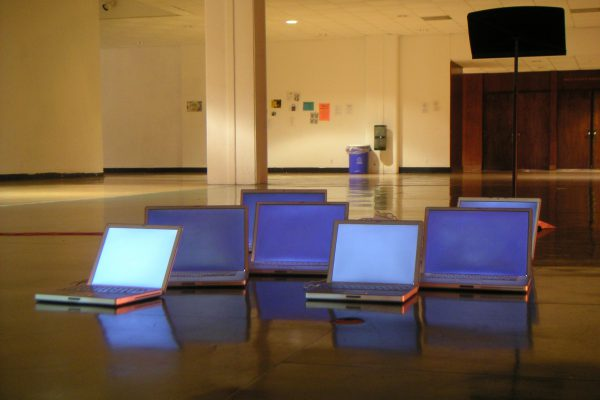 Marc Nimoy's performance of networked laptops during Sounding Out in the Fall of 2008
