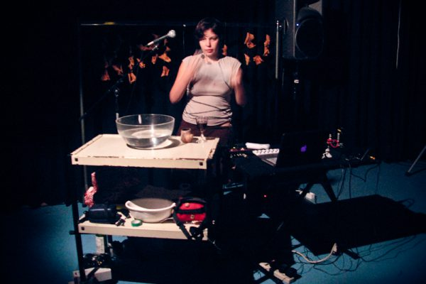 Carmina Escobar improvising with bluetooth controllers at STEIM, Fall 2010