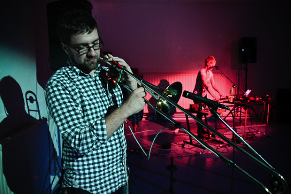 Daniel Eaton rehearsing with his trombone interface and controller, Fall 2010