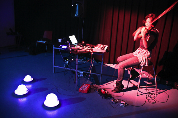 Stephanie Smith's violin bow interface and LED controller,  Fall 2010